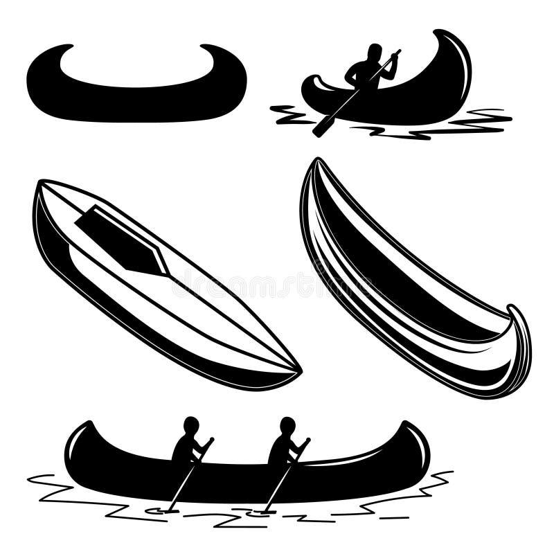 Set kajakowe ikony Projektuje element dla loga, etykietka, emblemat, znak, odznaka ilustracja wektor