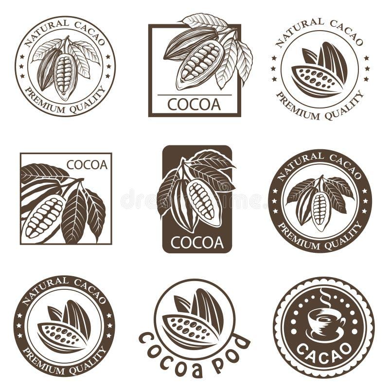 Set kakaowe etykietki ilustracja wektor