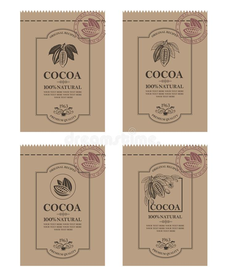 Set kakaowy pakować ilustracja wektor