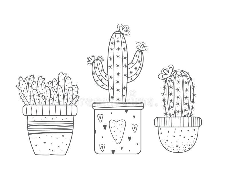 Set kaktusy Doodle stylowy Czarny kolor pojedynczy bia?e t?o ilustracja wektor