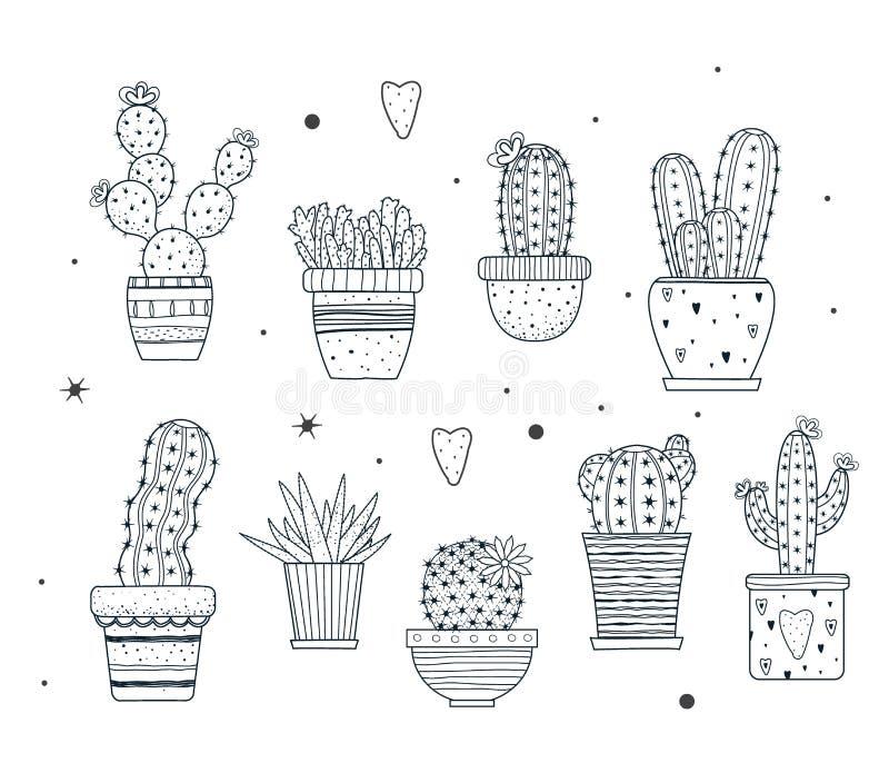 Set kaktusy Doodle stylowy Czarny kolor pojedynczy bia?e t?o royalty ilustracja