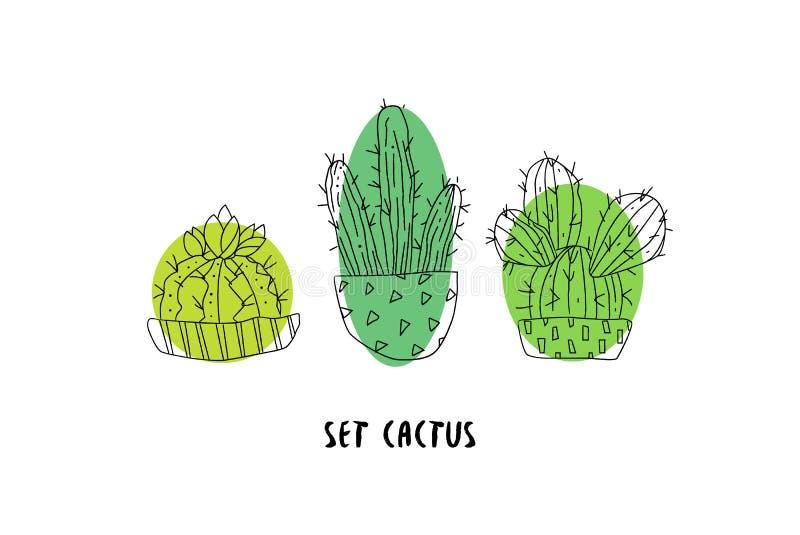 Set kaktusy na białym tle Botaniczna karta Sukulent w doodle stylu wektor royalty ilustracja
