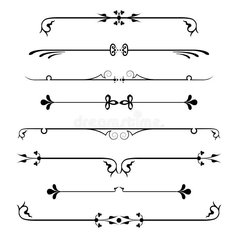 Set kaligraficzni projektów elementy i strona wystrój royalty ilustracja
