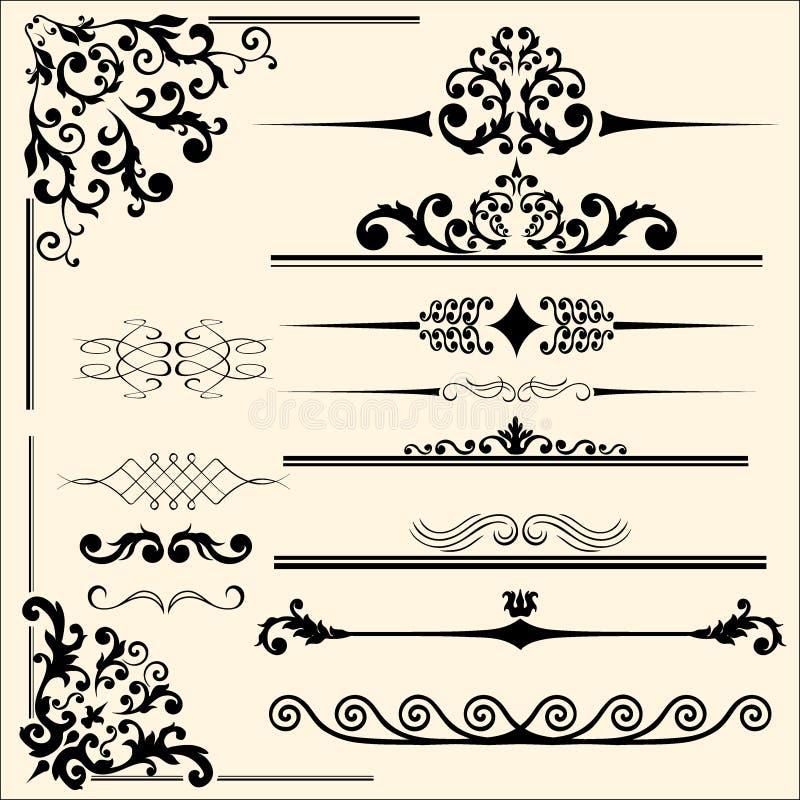 Set kaligraficzni projekt?w elementy ramy, monogramy, dla drukowa? i etykietek ilustracji