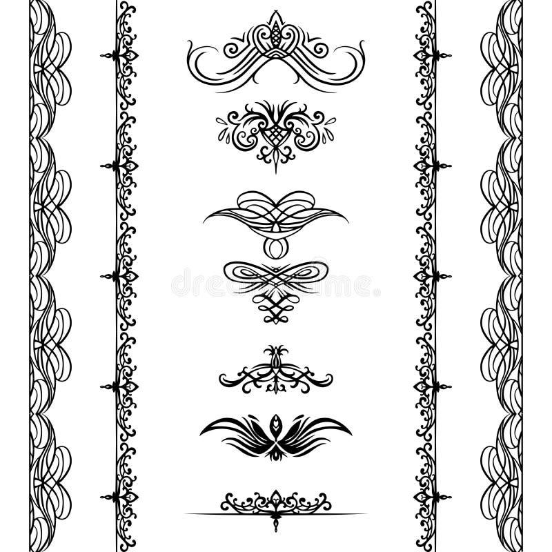 Set kaligraficzni uderzenia i bezszwowe granicy Przedmiot jest odzielnie od tła ilustracja wektor