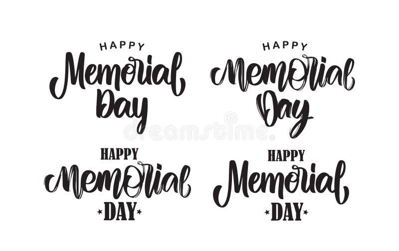 Set Kaligraficzny ręcznie pisany typ literowania Memorial Day na białym tle skład ilustracja wektor