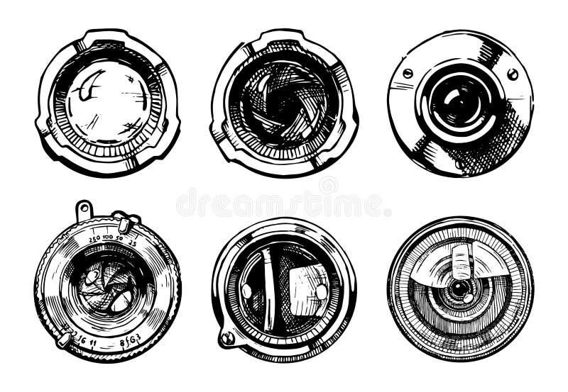 Set kamera obiektyw ilustracja wektor