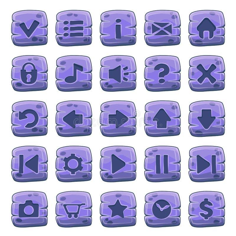 Set kamienia kwadrata guziki ilustracji
