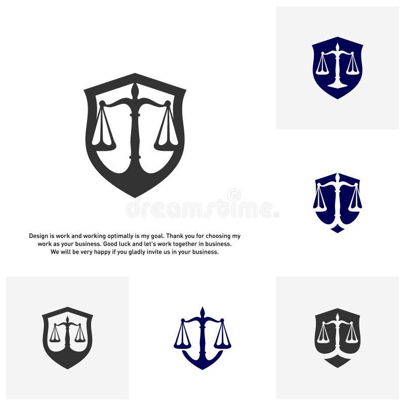 Set kancelaria prawna logo w postaci osłony z Greece skalami i kolumną Sędzia, firma prawnicza wektor ilustracji
