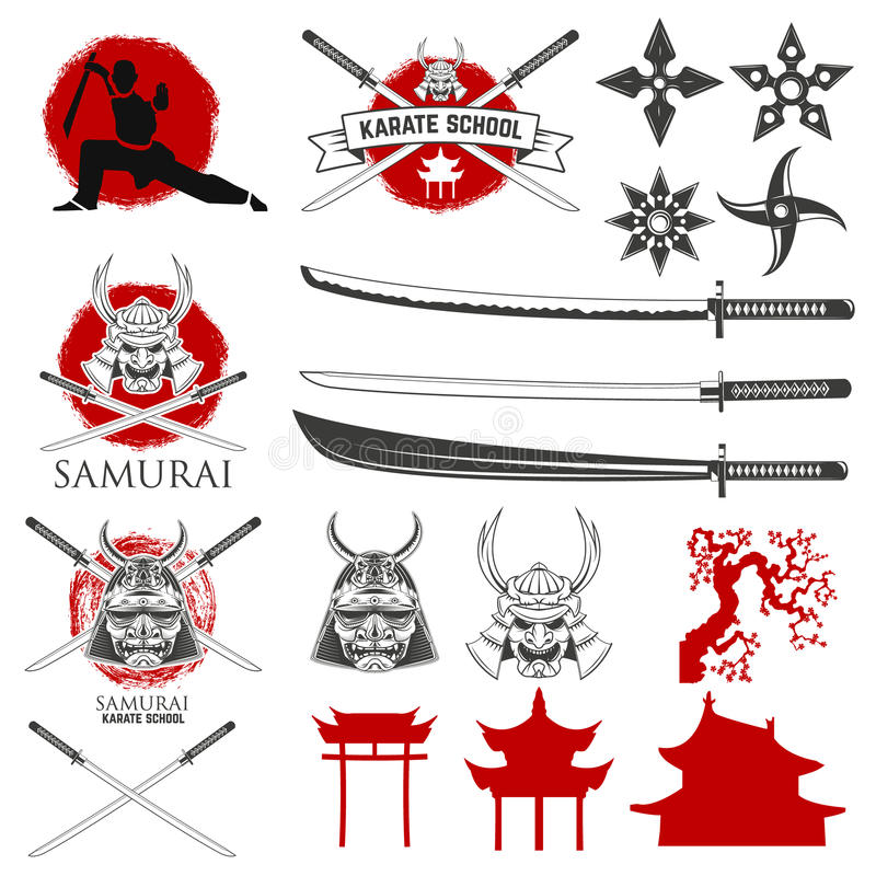 Set of karate school labels, emblems and design elements. Katana sword fight school. Vector illustration royalty free illustration