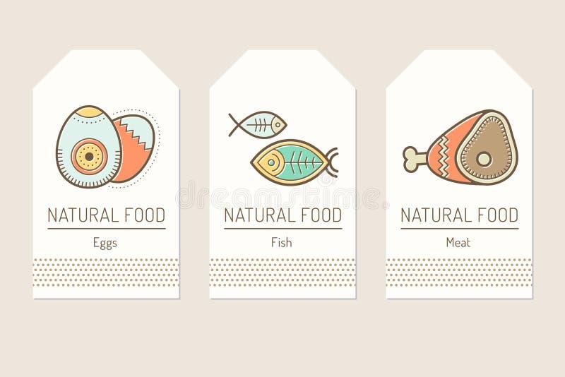 Set karciani szablony z zarysowanym proteinowym jedzeniem podpisuje ilustracja wektor