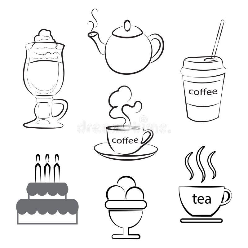 Set karmowe ikony Filiżanka gorąca kawa, herbata i deser, również zwrócić corel ilustracji wektora ilustracji