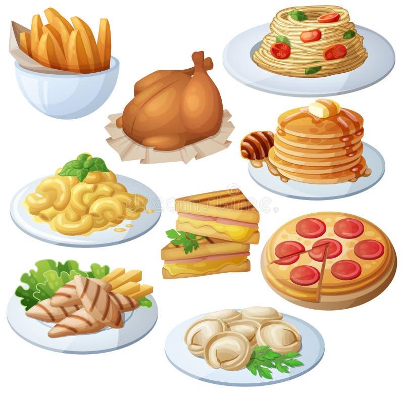 Set karmowe ikony odizolowywać na białym tle dinner ilustracja wektor