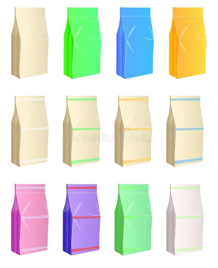 Karmowy torba set ilustracji