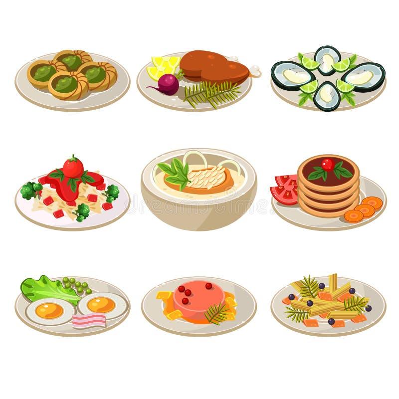 Set Karmowych ikon Europejski lunch ilustracja wektor