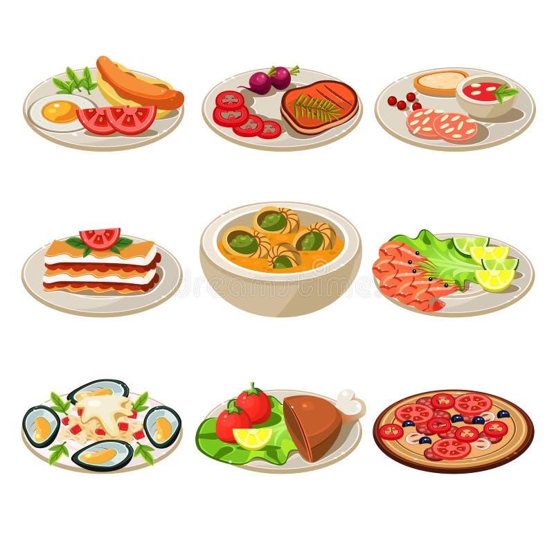 Set Karmowych ikon Europejski lunch royalty ilustracja