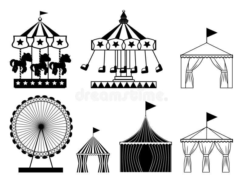 Set karnawałowe cyrkowe ikony Park rozrywki kolekcja ilustracja wektor
