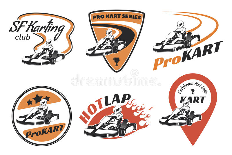 Set of kart racing emblems, logo and icons. stock illustration
