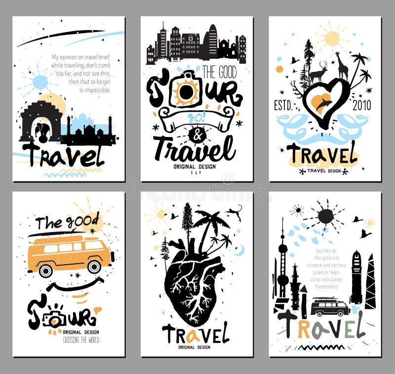Set karta dla turystyki ilustracji