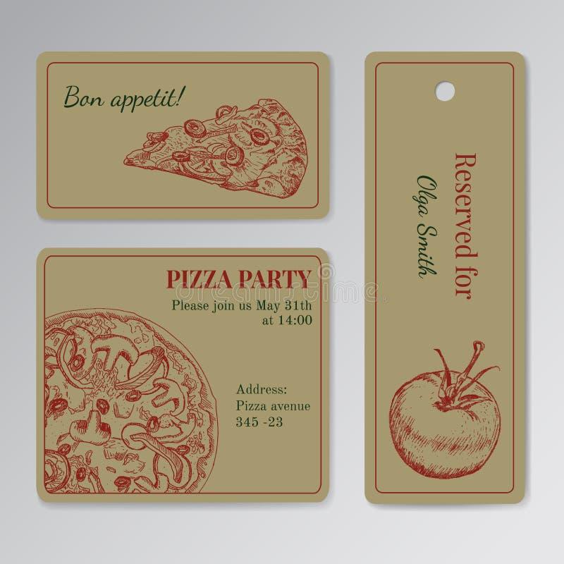 Set karta szablony dla pizzy przyjęcia ilustracja wektor