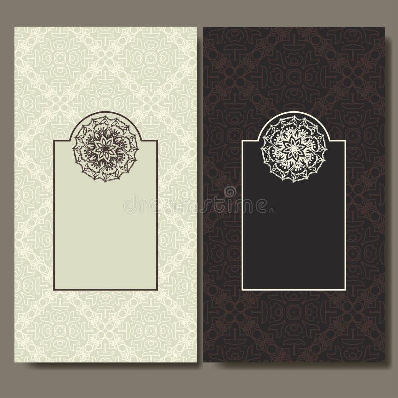 Set Karten Aufwändiges Design kann verwendet für Einladung, Gruß oder Visitenkarte Schablone für Ihre Auslegung Mandalavektor bac stock abbildung