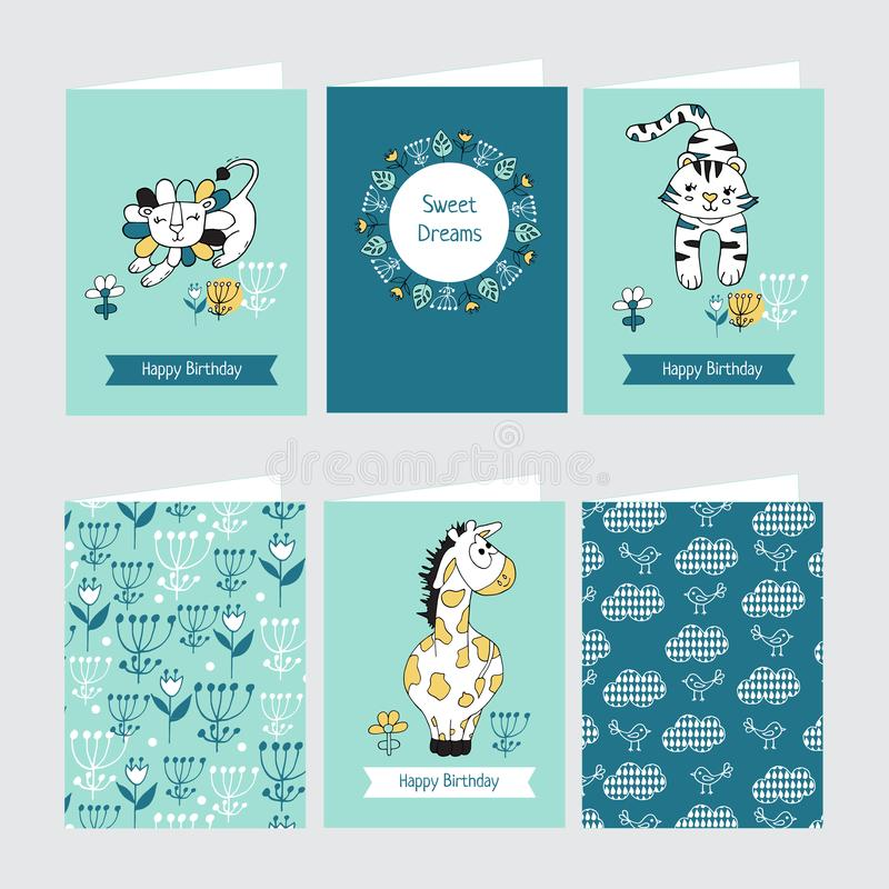 Set kartki z pozdrowieniami z śliczną żyrafą, lwem i tygrysem, ilustracja wektor
