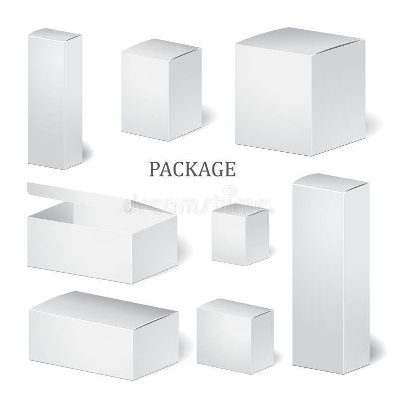 Set kartonowy pakunku pudełko egzamin próbny up, szablon zapas ilustracja wektor