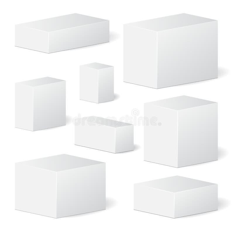 Set kartonowy pakunku pudełko egzamin próbny up, szablon zapas royalty ilustracja