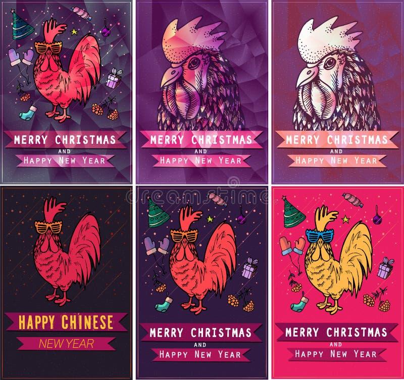 Set karty dla wakacji z kogutem w ręka rysującym stylu Ilustracyjni jaskrawi elementy royalty ilustracja