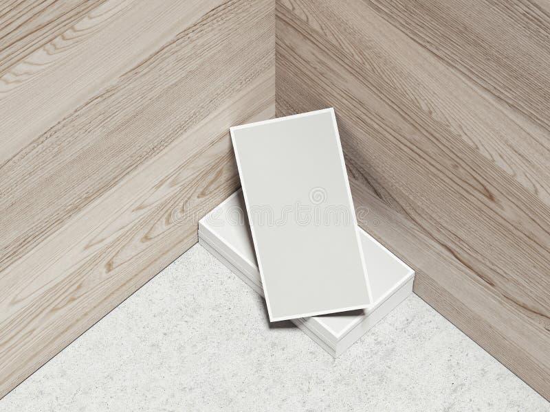 Set karty na drewnianym tle, 3d rendering ilustracja wektor