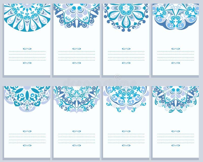Set karty Z Abstrakcjonistycznymi Gzhel wzorami royalty ilustracja