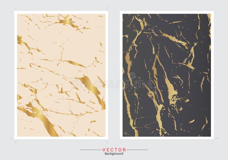 Set karty z delikatnymi marmurowymi teksturami royalty ilustracja