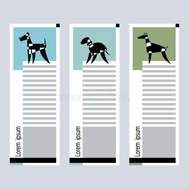 Set karty z stylizowanymi psimi trakenami bedlington, airdale terier i doberman na graficznym tle, Wektorowy Illustratio ilustracji