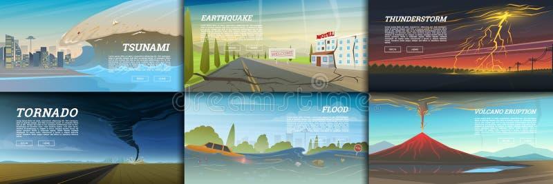 Set katastrofa naturalna lub kataklizmy Katastrofy i kryzysu tło Realistyczny tornado lub burza, uderzenie pioruna obrazy stock