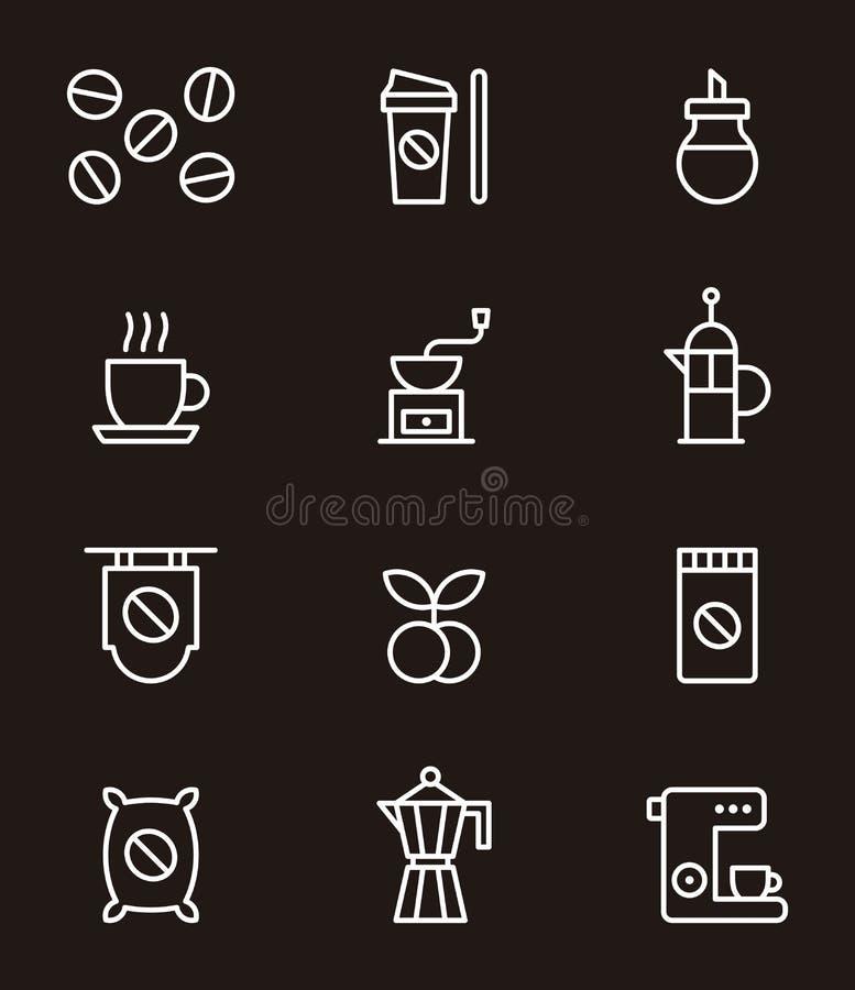 Set kaw powiązane ikony royalty ilustracja