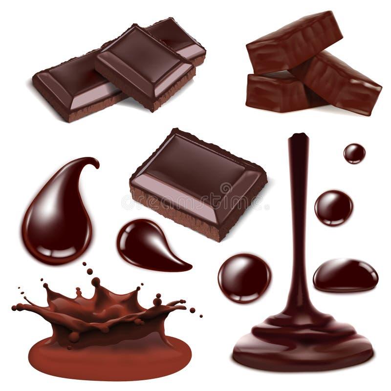 Set kawałek siekający czekoladowy cukierek ilustracja wektor