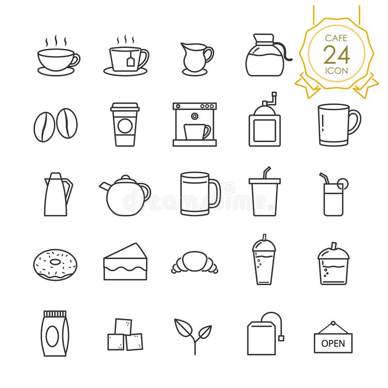 Set kawa, herbata i odnosić sie w kawiarni linii ikonie royalty ilustracja