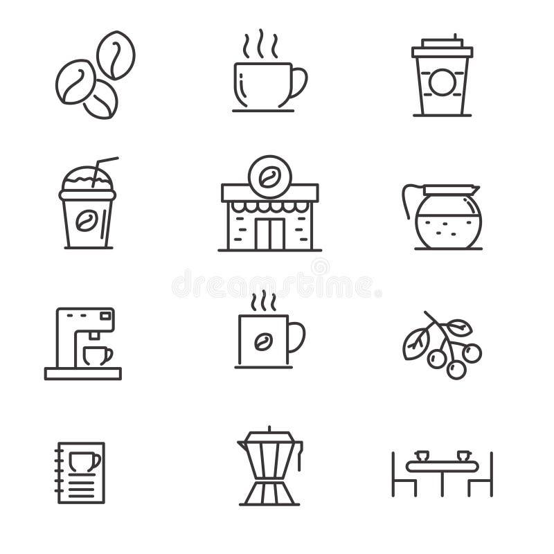 Set kawa odnosić sie wektorową ilustrację z prostym kreskowym projektem royalty ilustracja