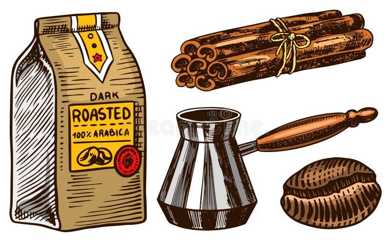Set kawa w rocznika stylu Kaligraficzna inskrypcja i producent cynamonowych kijów, torby i filtra, R?ka rysuj?ca graweruj?c? royalty ilustracja