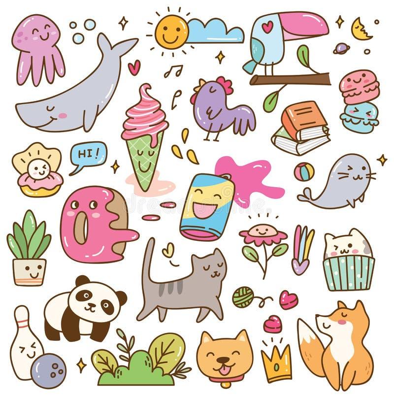 Set of kawaii doodles design element royalty free illustration