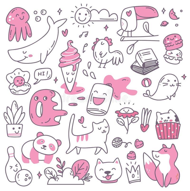 Set kawaii doodles projekta element ilustracja wektor