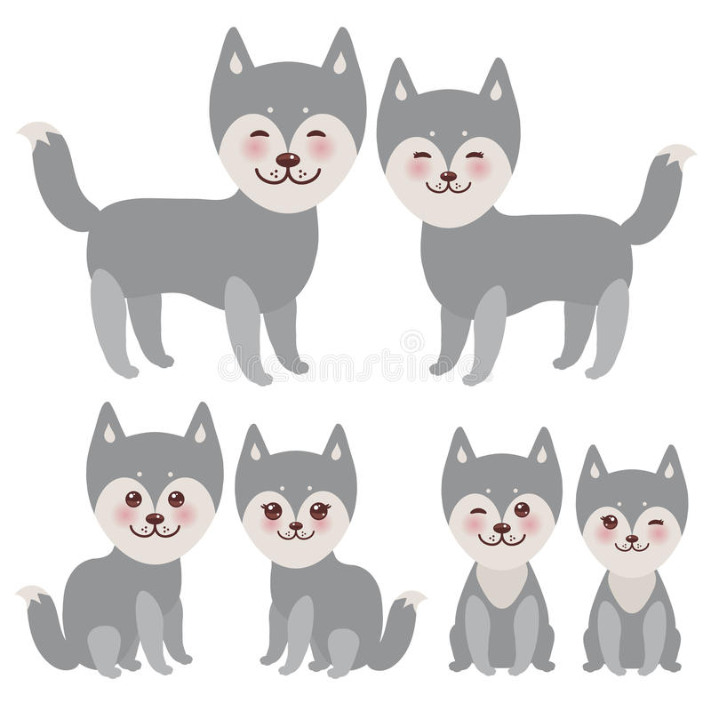 Set kawaii funny gray husky dog, face with large eyes and pink cheeks, boy and girl isolated on white background. Vector. Illustration stock illustration