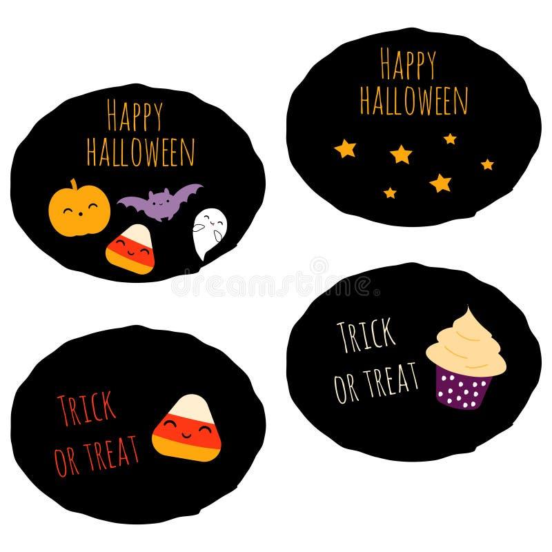 Set of 4 kawaii halloween stickers vector illustration