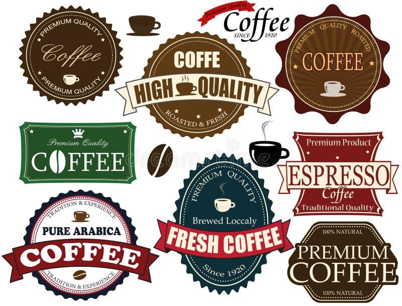 Set kawowe etykietki ilustracja wektor