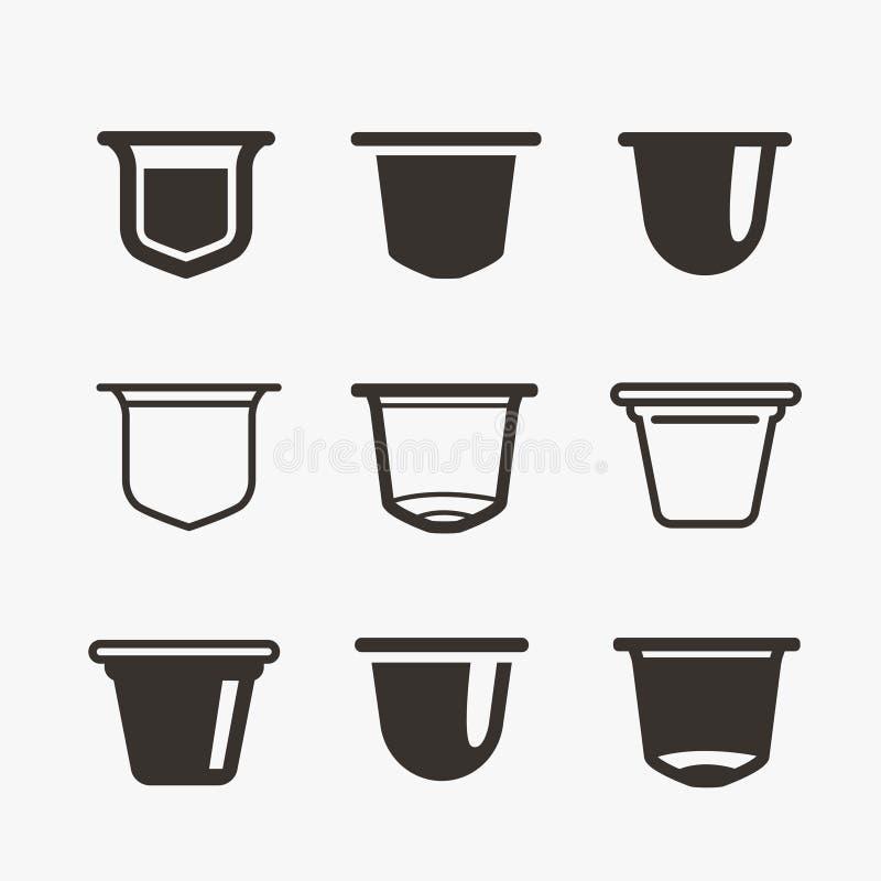 Set kawowe kapsuły Wektorowe płaskie ikony ilustracji
