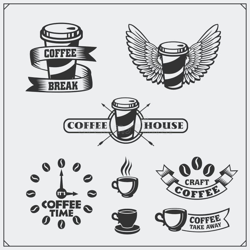 Set kawowe odznaki, etykietki i projektów elementy, Sklep z kawą emblematów szablony ilustracja wektor