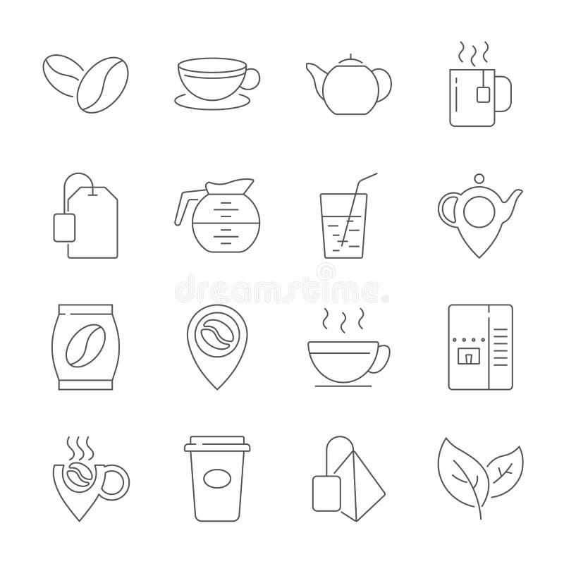 Set kawy i herbaty Kreskowe ikony Zawiera taki ikony jak fili?anka herbata, Teabags, Kawowe fasole i zielona herbata li?cie, a ilustracji
