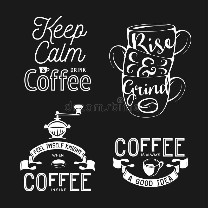 Set kawy powiązana typografia Wycena o kawie Rocznika wektoru ilustracje royalty ilustracja