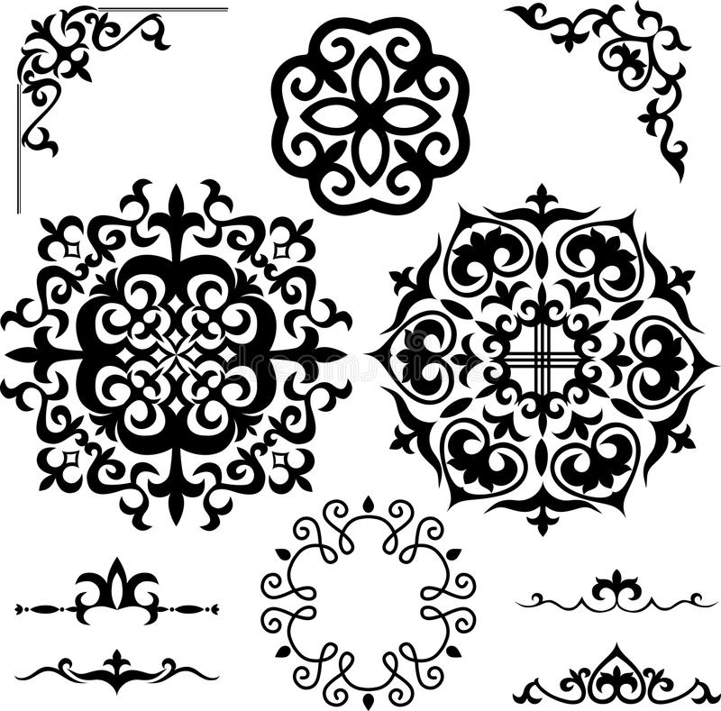 Set Kazakh Asian ornaments and patterns royalty free illustration