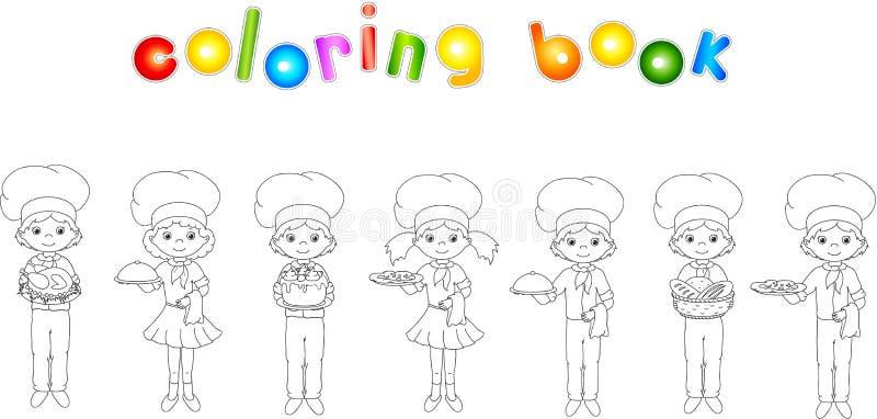 Set kelner, kucharz i szef kuchni kreskówki, Kolorystyki książka dla dzieciaków ilustracja wektor